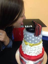 ##296- Ashley can't wait to taste her Tailored Graduation Cake