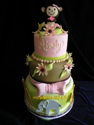 Pretty Jungle Themed Baby Cake